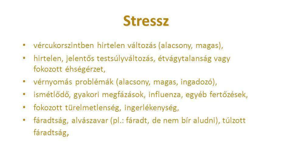 Stressz vércukorszintben hirtelen változás (alacsony, magas), hirtelen, jelentős testsúlyváltozás, étvágytalanság vagy fokozott éhségérzet, vérnyomás