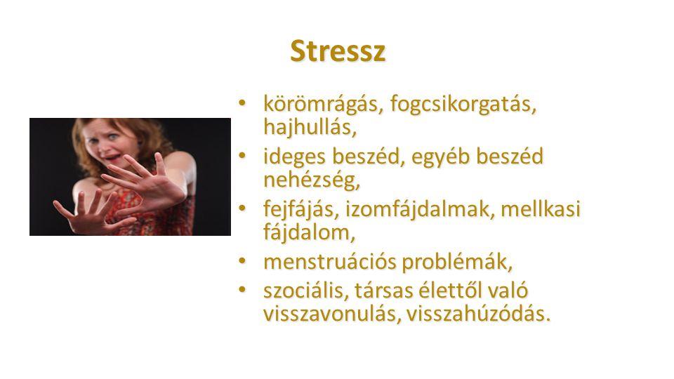 Stressz körömrágás, fogcsikorgatás, hajhullás, körömrágás, fogcsikorgatás, hajhullás, ideges beszéd, egyéb beszéd nehézség, ideges beszéd, egyéb beszé