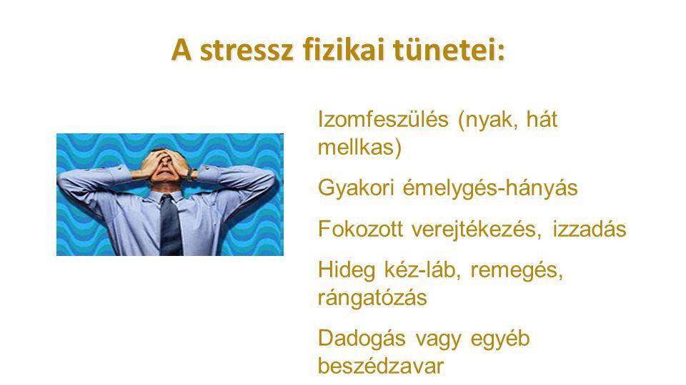 A stressz fizikai tünetei: Izomfeszülés (nyak, hát mellkas) Gyakori émelygés-hányás Fokozott verejtékezés, izzadás Hideg kéz-láb, remegés, rángatózás