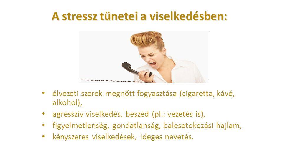 A stressz tünetei a viselkedésben: élvezeti szerek megnőtt fogyasztása (cigaretta, kávé, alkohol), agresszív viselkedés, beszéd (pl.: vezetés is), fig