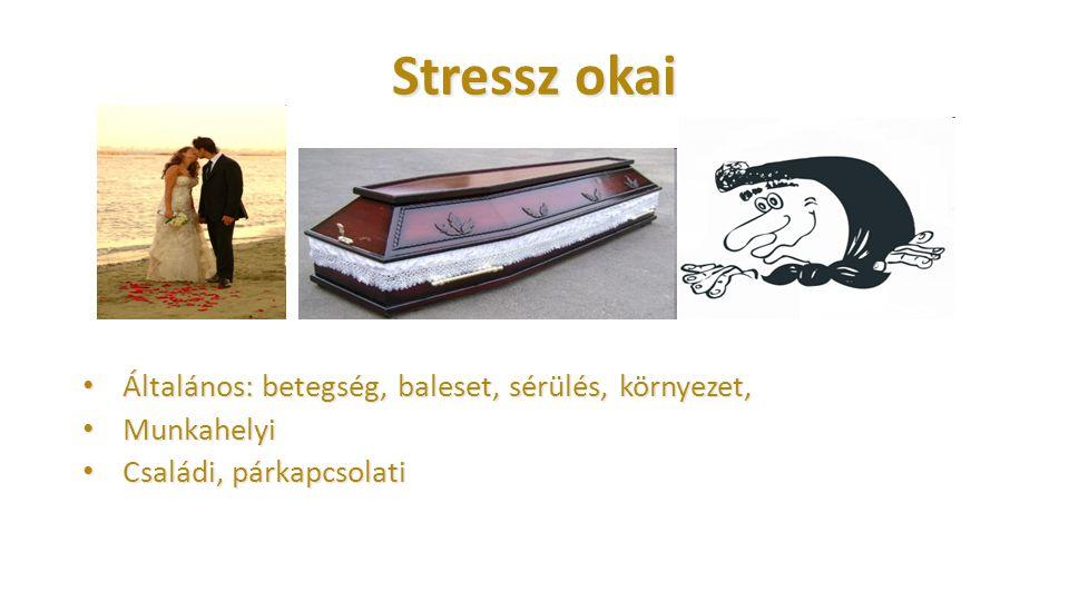 Stressz okai Általános: betegség, baleset, sérülés, környezet, Általános: betegség, baleset, sérülés, környezet, Munkahelyi Munkahelyi Családi, párkap