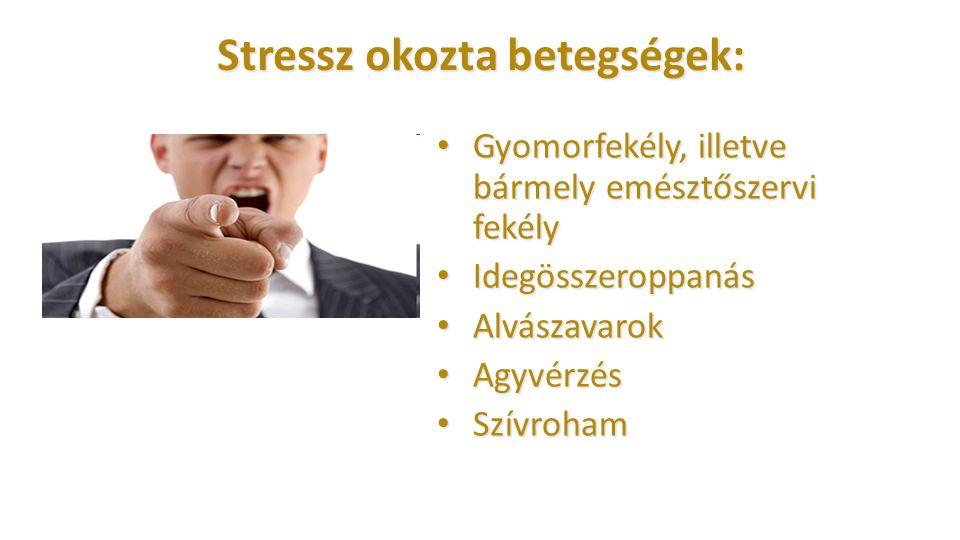 Stressz okozta betegségek: Gyomorfekély, illetve bármely emésztőszervi fekély Gyomorfekély, illetve bármely emésztőszervi fekély Idegösszeroppanás Ide