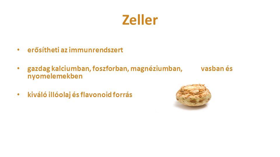 Zeller erősítheti az immunrendszert gazdag kalciumban, foszforban, magnéziumban, vasban és nyomelemekben kiváló illóolaj és flavonoid forrás