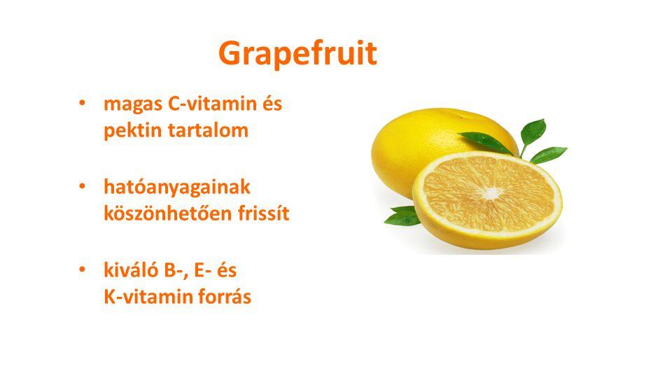 Grapefruit magas C-vitamin és pektin tartalom hatóanyagainak köszönhetően frissít kiváló B-, E- és K-vitamin forrás