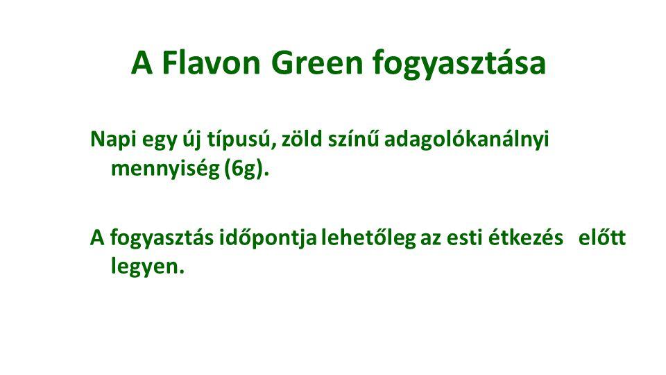 A Flavon Green fogyasztása Napi egy új típusú, zöld színű adagolókanálnyi mennyiség (6g). A fogyasztás időpontja lehetőleg az esti étkezés előtt legye