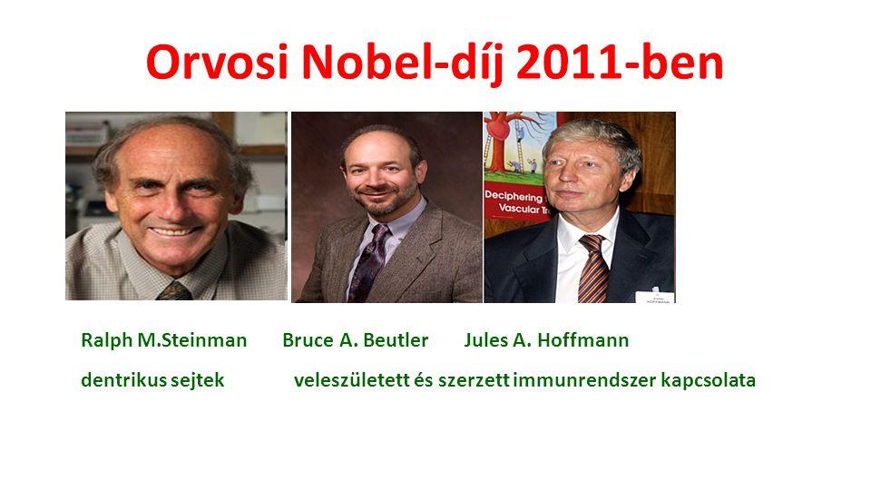Orvosi Nobel-díj 2011-ben Ralph M.Steinman Bruce A. Beutler Jules A. Hoffmann dentrikus sejtek veleszületett és szerzett immunrendszer kapcsolata