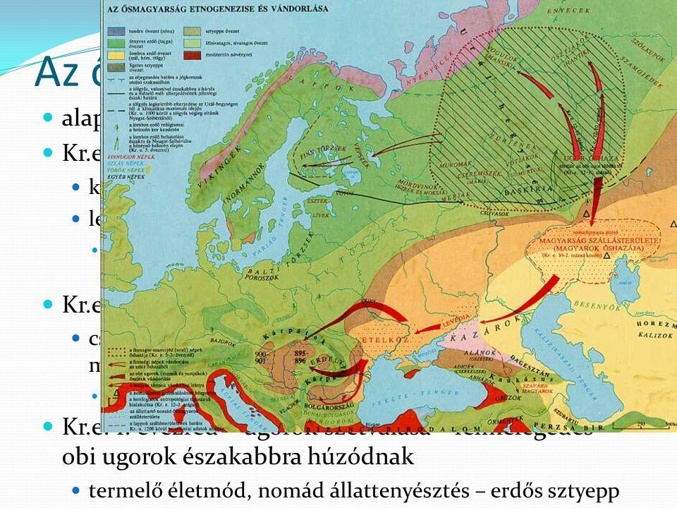 Az őshaza alapvetően a nyelvi eredet alapján Kr.e. III. évezred – uráli népek őshazája kőeszközök – zsákmányoló életmód legősibb szavak (családtagok,