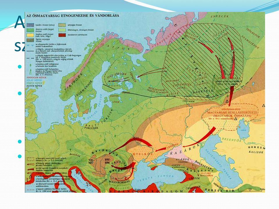 A magyarság feltételezett születése Kr.e. I. évezred közepe – Ural keleti oldala – Irtis – Tobol – Isim folyók alán, szkíta (iráni) szomszédság – álla