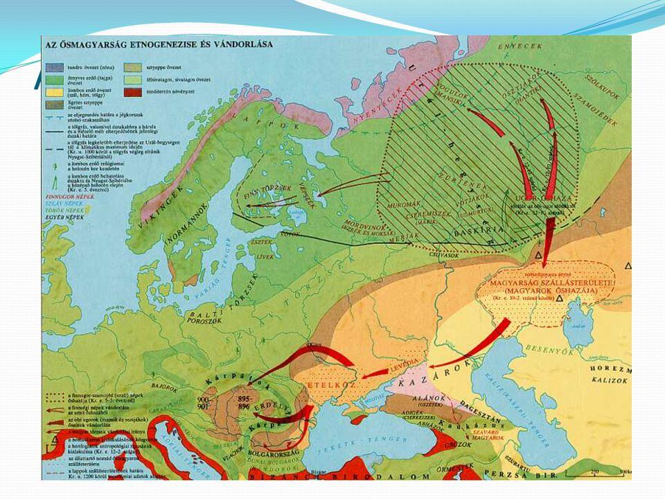 A vándorlás első állomásai Kr.e. V – Kr.u. V. század között a magyarság az Ural keleti oldaláról átkerül a nyugati oldalára oka, lefolyása ismeretlen