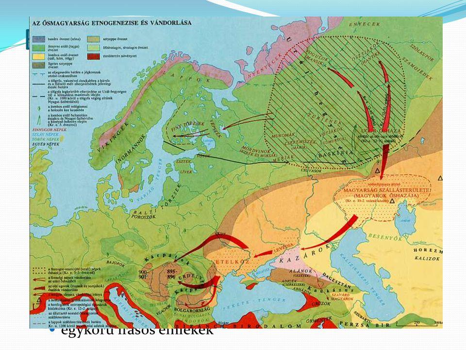 Baskíriától a Kárpát-medencéig Kr.u. VIII. század közepe – Levédia (vezető neve) írásos forrás (igaz, későbbi időből származik) kazár fennhatóság (tör
