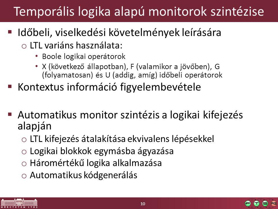 Temporális logika alapú monitorok szintézise  Időbeli, viselkedési követelmények leírására o LTL variáns használata: Boole logikai operátorok X (következő állapotban), F (valamikor a jövőben), G (folyamatosan) és U (addig, amíg) időbeli operátorok  Kontextus információ figyelembevétele  Automatikus monitor szintézis a logikai kifejezés alapján o LTL kifejezés átalakítása ekvivalens lépésekkel o Logikai blokkok egymásba ágyazása o Háromértékű logika alkalmazása o Automatikus kódgenerálás 10