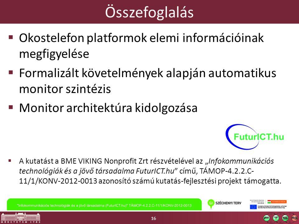"""Összefoglalás  Okostelefon platformok elemi információinak megfigyelése  Formalizált követelmények alapján automatikus monitor szintézis  Monitor architektúra kidolgozása  A kutatást a BME VIKING Nonprofit Zrt részvételével az """"Infokommunikációs technológiák és a jövő társadalma FuturICT.hu című, TÁMOP-4.2.2.C- 11/1/KONV-2012-0013 azonosító számú kutatás-fejlesztési projekt támogatta."""
