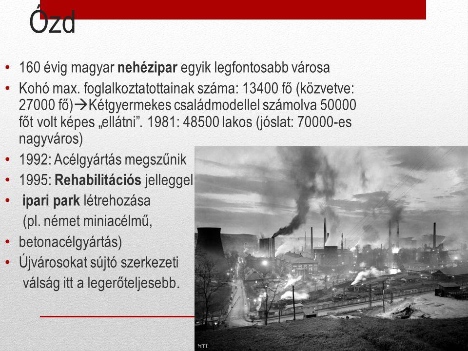 Ózd 160 évig magyar nehézipar egyik legfontosabb városa Kohó max. foglalkoztatottainak száma: 13400 fő (közvetve: 27000 fő)  Kétgyermekes családmodel
