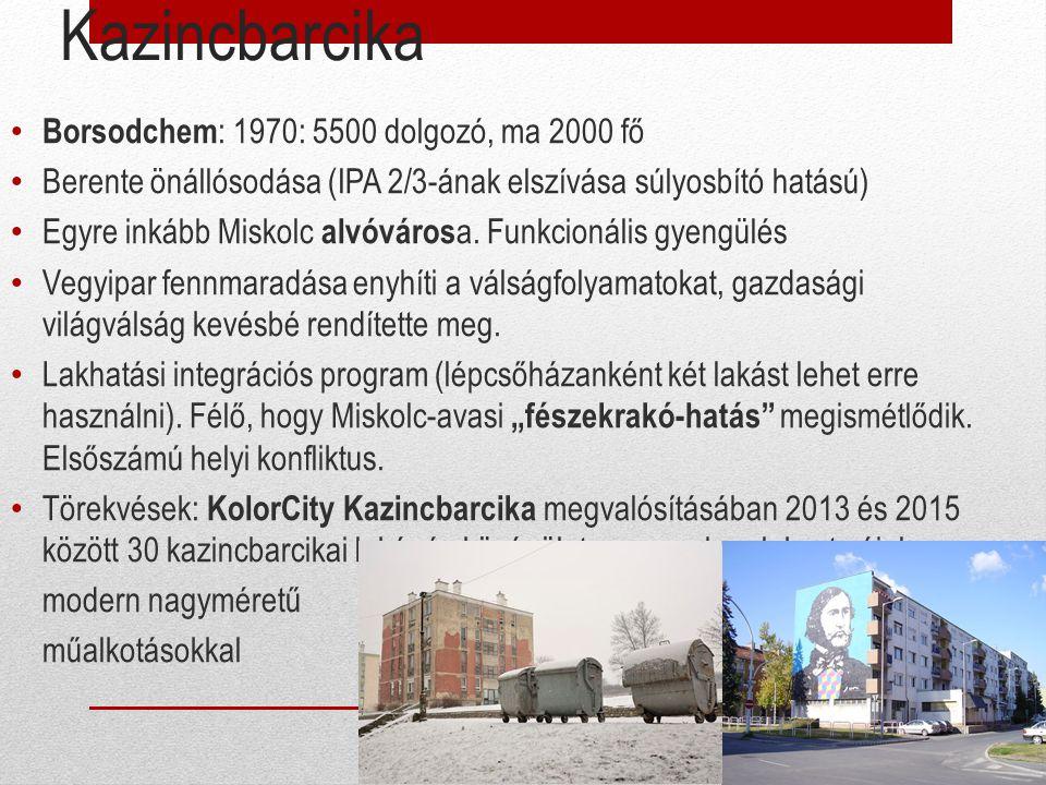 Kazincbarcika Borsodchem : 1970: 5500 dolgozó, ma 2000 fő Berente önállósodása (IPA 2/3-ának elszívása súlyosbító hatású) Egyre inkább Miskolc alvóvár