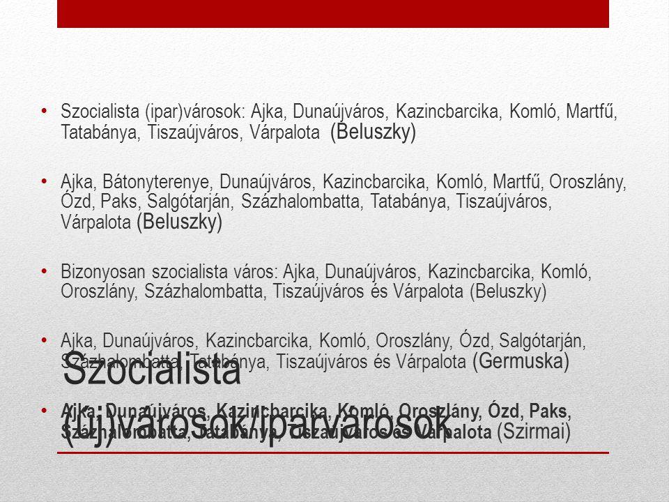Szocialista (új)városok/iparvárosok Szocialista (ipar)városok: Ajka, Dunaújváros, Kazincbarcika, Komló, Martfű, Tatabánya, Tiszaújváros, Várpalota (Be