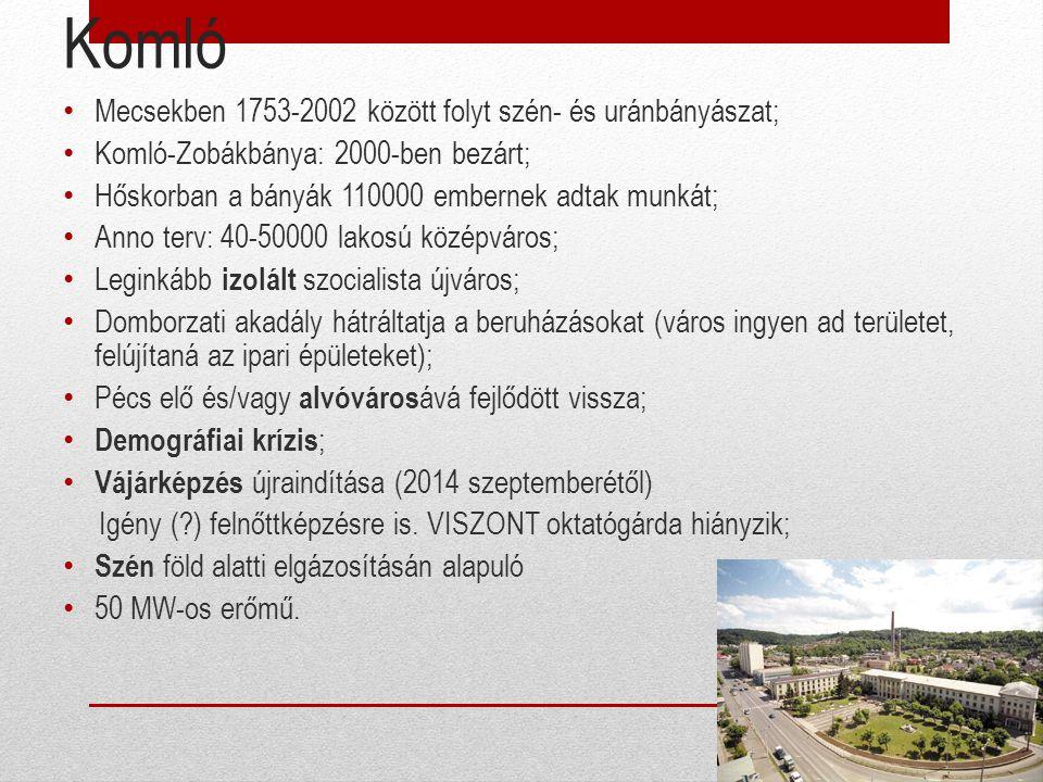 Komló Mecsekben 1753-2002 között folyt szén- és uránbányászat; Komló-Zobákbánya: 2000-ben bezárt; Hőskorban a bányák 110000 embernek adtak munkát; Ann
