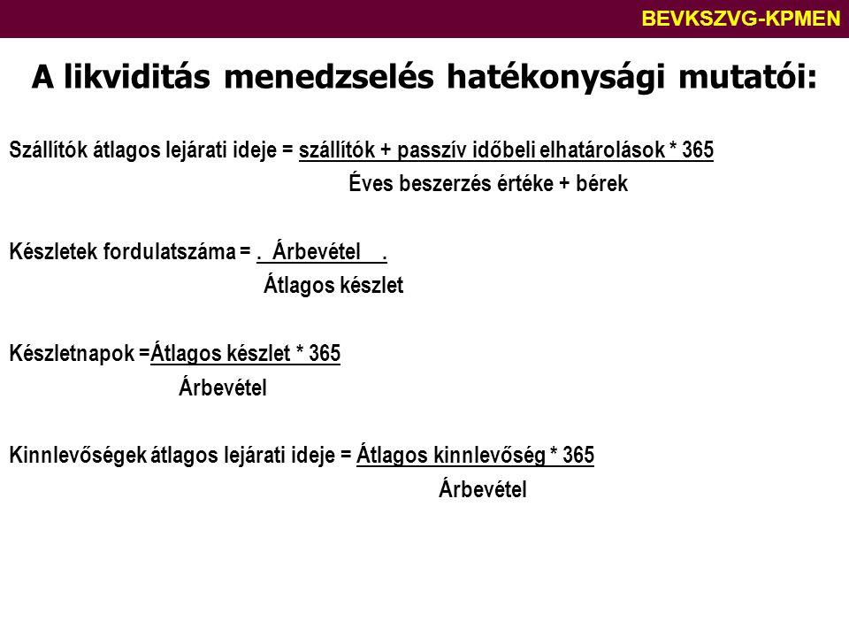 BEVKSZVG-KPMEN A likviditás menedzselés hatékonysági mutatói: Szállítók átlagos lejárati ideje = szállítók + passzív időbeli elhatárolások * 365 Éves