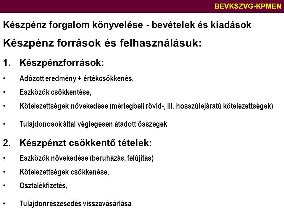 BEVKSZVG-KPMEN Készpénz forgalom könyvelése - bevételek és kiadások Készpénz források és felhasználásuk: 1.Készpénzforrások: Adózott eredmény + értékc