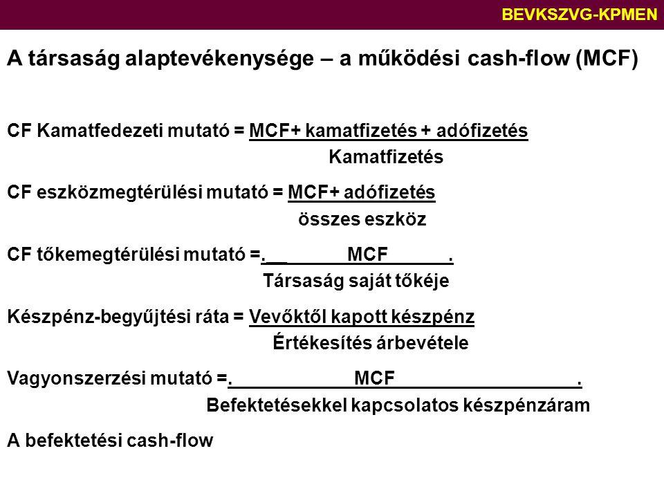 BEVKSZVG-KPMEN A társaság alaptevékenysége – a működési cash-flow (MCF) CF Kamatfedezeti mutató = MCF+ kamatfizetés + adófizetés Kamatfizetés CF eszkö