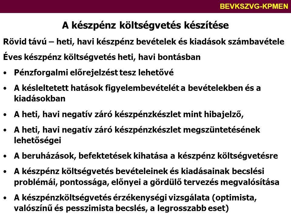 BEVKSZVG-KPMEN A készpénz költségvetés készítése Rövid távú – heti, havi készpénz bevételek és kiadások számbavétele Éves készpénz költségvetés heti,