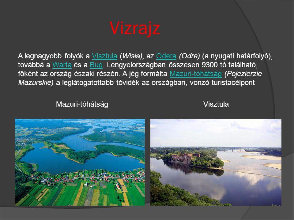 Vizrajz A legnagyobb folyók a Visztula (Wisła), az Odera (Odra) (a nyugati határfolyó), továbbá a Warta és a Bug. Lengyelországban összesen 9300 tó ta