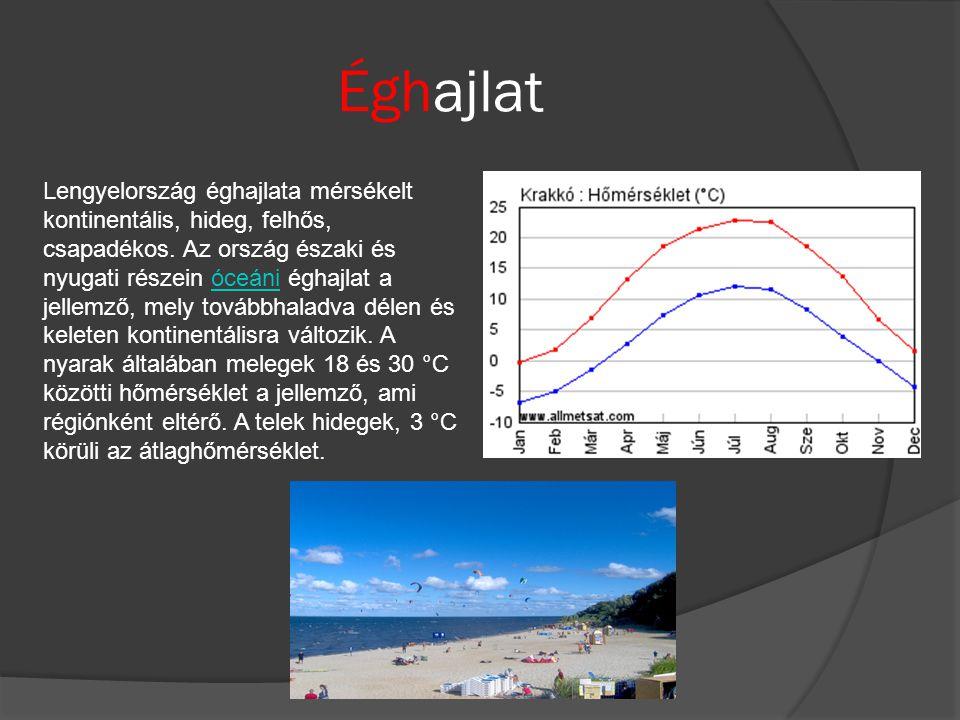 Éghajlat Lengyelország éghajlata mérsékelt kontinentális, hideg, felhős, csapadékos. Az ország északi és nyugati részein óceáni éghajlat a jellemző, m