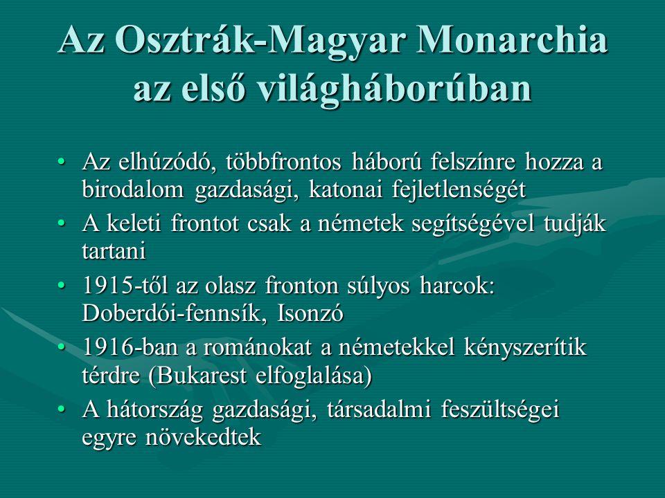 Az Osztrák-Magyar Monarchia az első világháborúban Az elhúzódó, többfrontos háború felszínre hozza a birodalom gazdasági, katonai fejletlenségétAz elh