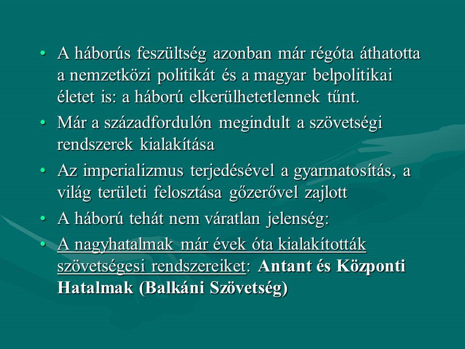 A háborús feszültség azonban már régóta áthatotta a nemzetközi politikát és a magyar belpolitikai életet is: a háború elkerülhetetlennek tűnt.A háború
