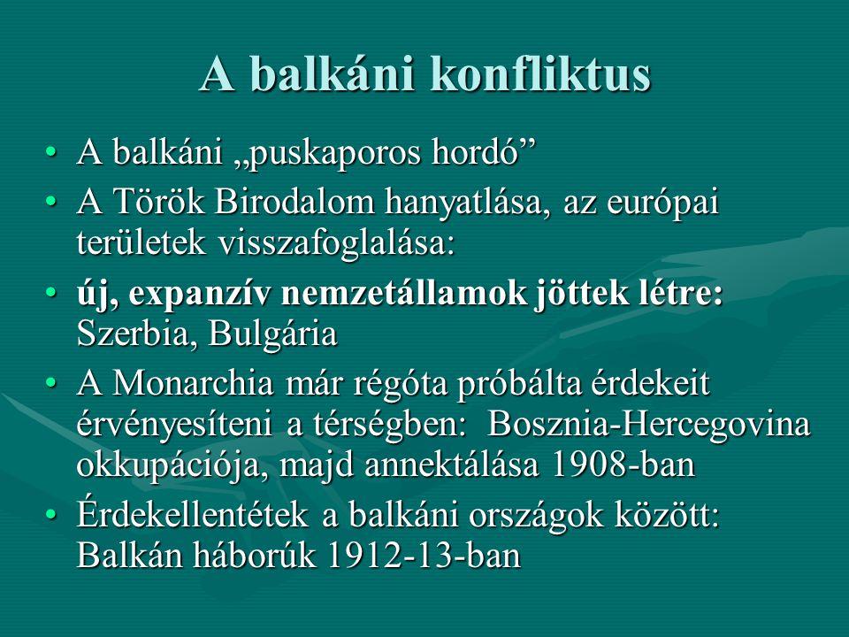 """A balkáni konfliktus A balkáni """"puskaporos hordó""""A balkáni """"puskaporos hordó"""" A Török Birodalom hanyatlása, az európai területek visszafoglalása:A Tör"""