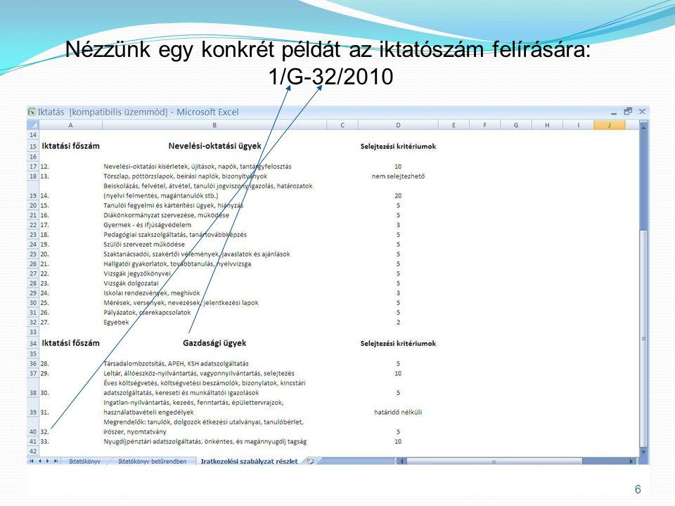 6 Nézzünk egy konkrét példát az iktatószám felírására: 1/G-32/2010
