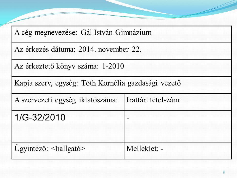 A cég megnevezése: Gál István Gimnázium Az érkezés dátuma: 2014.