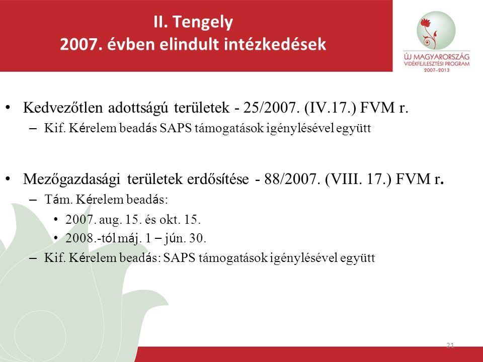 21 II. Tengely 2007. évben elindult intézkedések Kedvezőtlen adottságú területek - 25/2007.