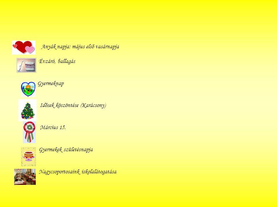 Anyák napja: május első vasárnapja Évzáró, ballagás Gyermeknap Idősek köszöntése (Karácsony) Március 15. Gyermekek születésnapja Nagycsoportosaink isk