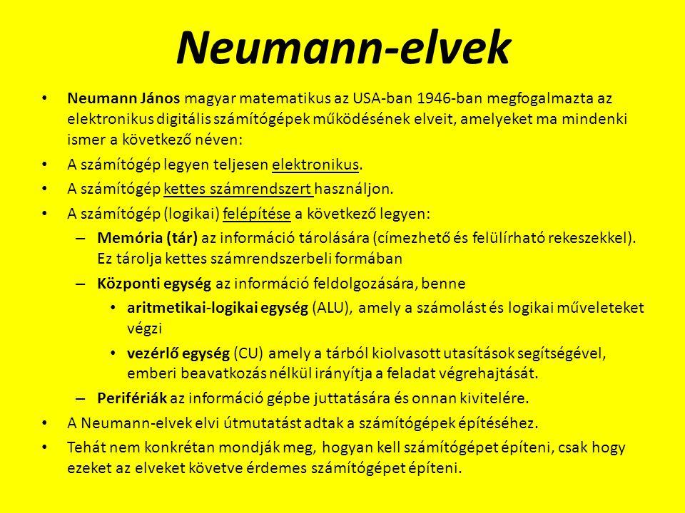 Neumann-elvek Neumann János magyar matematikus az USA-ban 1946-ban megfogalmazta az elektronikus digitális számítógépek működésének elveit, amelyeket