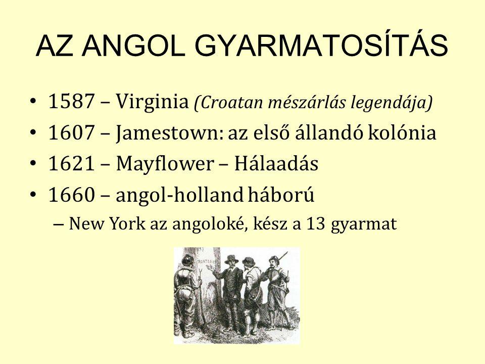 AZ ANGOL GYARMATOSÍTÁS 1587 – Virginia (Croatan mészárlás legendája) 1607 – Jamestown: az első állandó kolónia 1621 – Mayflower – Hálaadás 1660 – angol-holland háború – New York az angoloké, kész a 13 gyarmat