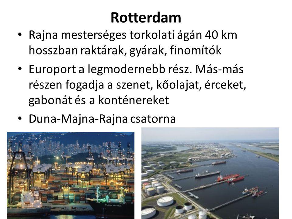 Rotterdam Rajna mesterséges torkolati ágán 40 km hosszban raktárak, gyárak, finomítók Europort a legmodernebb rész.