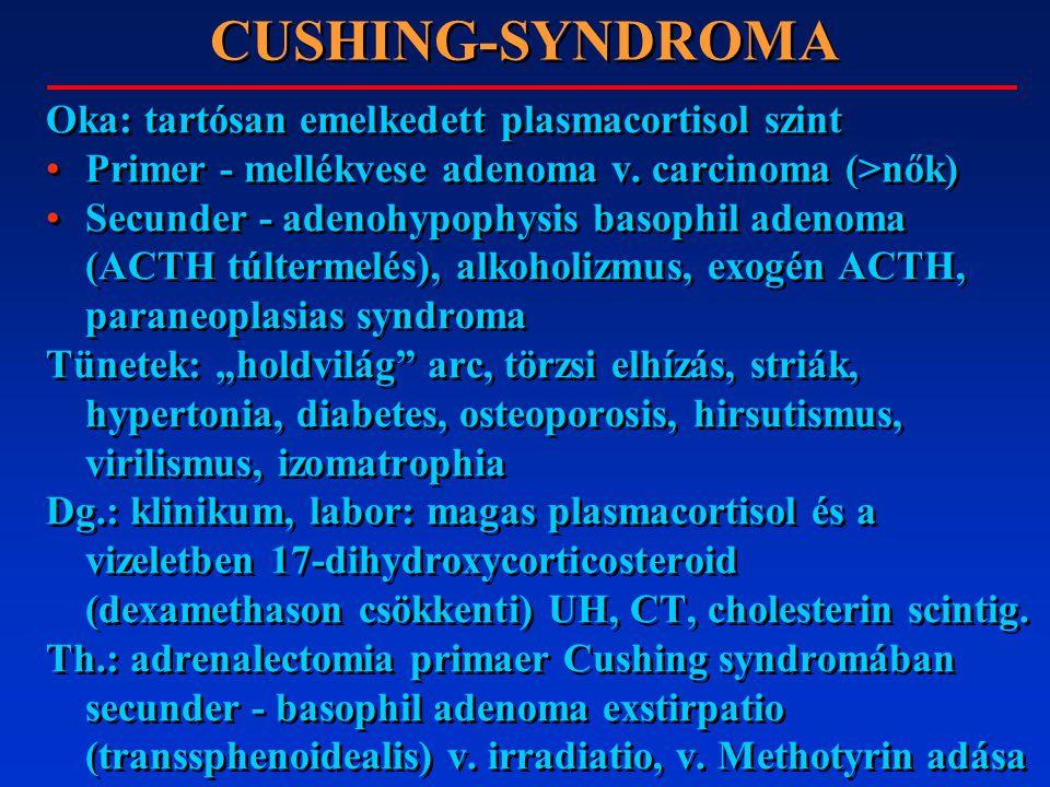 CUSHING-SYNDROMA Oka: tartósan emelkedett plasmacortisol szint Primer - mellékvese adenoma v. carcinoma (>nők) Secunder - adenohypophysis basophil ade