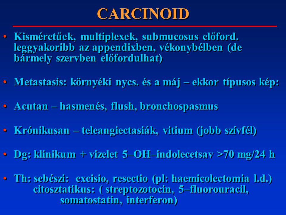 CARCINOID Kisméretűek, multiplexek, submucosus előford. leggyakoribb az appendixben, vékonybélben (de bármely szervben előfordulhat) Metastasis: körny