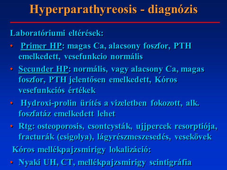 Hyperparathyreosis - diagnózis Laboratóriumi eltérések: Primer HP: magas Ca, alacsony foszfor, PTH emelkedett, vesefunkcio normális Secunder HP: normális, vagy alacsony Ca, magas foszfor, PTH jelentősen emelkedett, Kóros vesefunkciós értékek Hydroxi-prolin ürítés a vizeletben fokozott, alk.