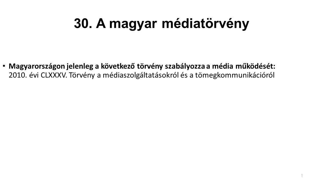 30. A magyar médiatörvény Magyarországon jelenleg a következő törvény szabályozza a média működését: 2010. évi CLXXXV. Törvény a médiaszolgáltatásokró