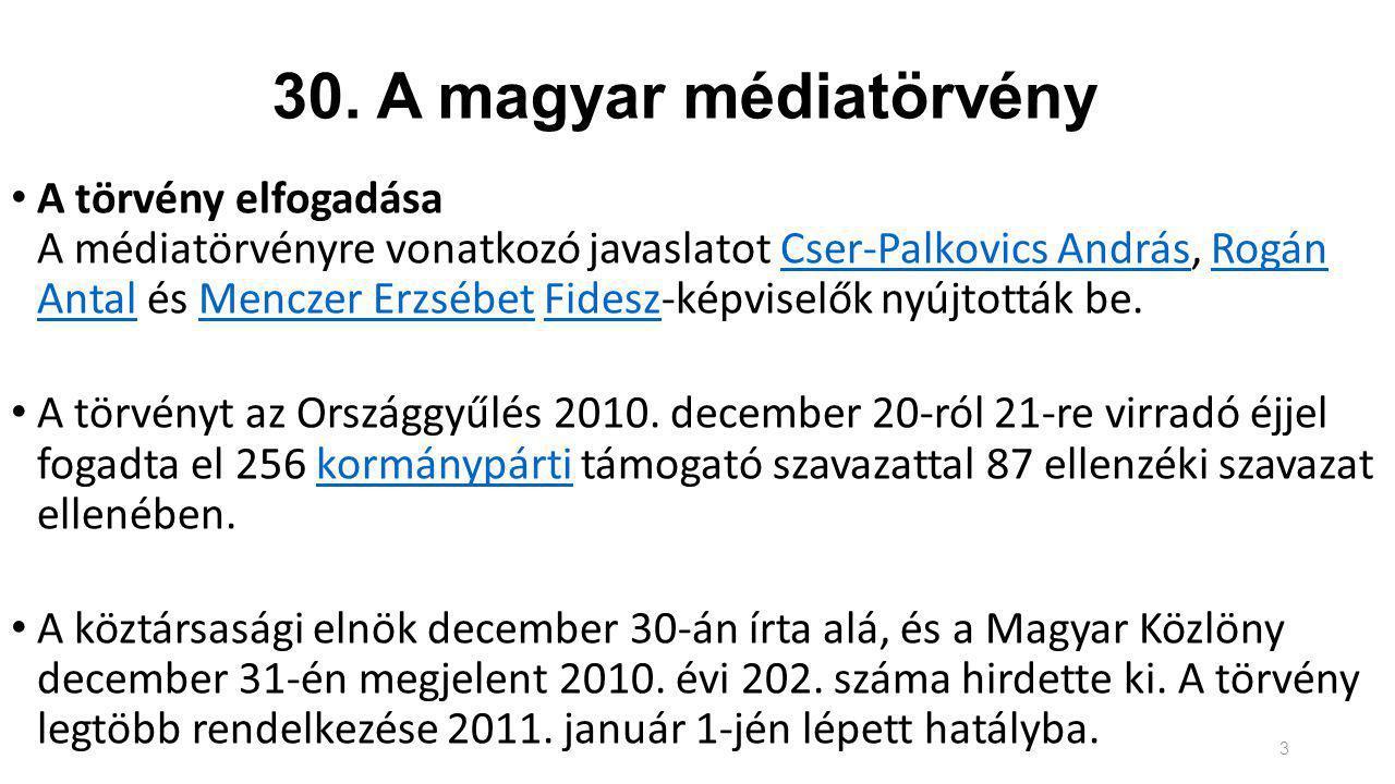 30. A magyar médiatörvény A törvény elfogadása A médiatörvényre vonatkozó javaslatot Cser-Palkovics András, Rogán Antal és Menczer Erzsébet Fidesz-kép