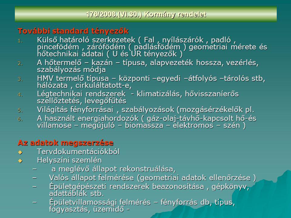További standard tényezők 1. Külső határoló szerkezetek ( Fal, nyílászárók, padló, pincefödém, zárófödém ( padlásfödém ) geometriai mérete és hőtechni