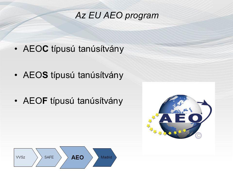 Az EU AEO program AEOC típusú tanúsítvány AEOS típusú tanúsítvány AEOF típusú tanúsítvány SAFE AEO MadridVVSz