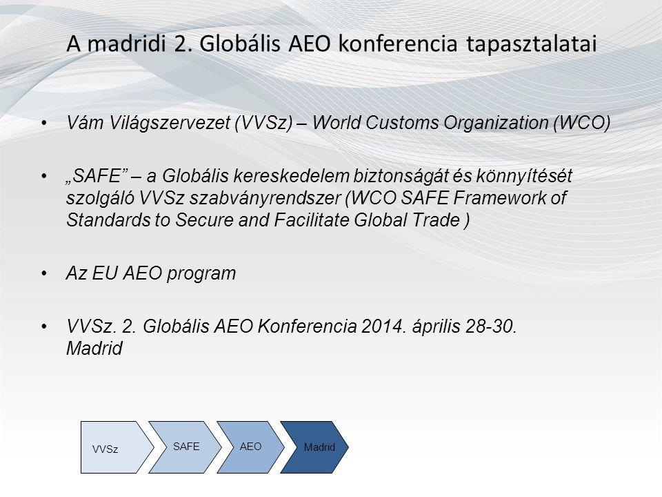 Vám Világszervezet (VVSz) World Customs Organization (WCO) A Vám Világszervezet tagsága 179 vámhatóságot foglal magába, amely a globális kereskedelem 98 százalékát lefedi A világ 6 különböző régiójában SAFEAEOMadrid VVSz