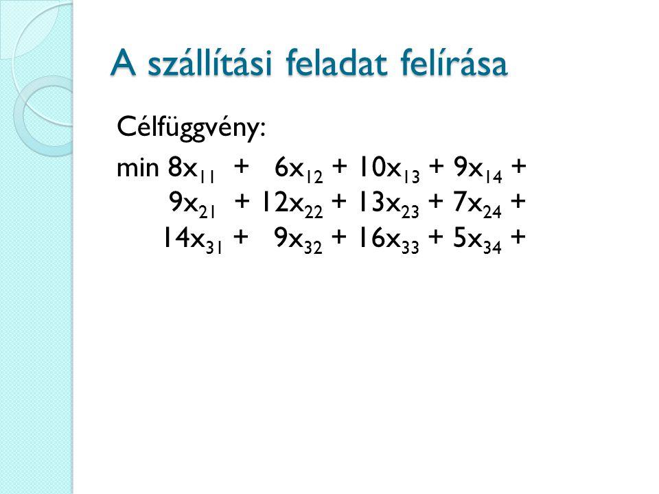 A szállítási feladat felírása Célfüggvény: min 8x 11 + 6x 12 + 10x 13 + 9x 14 + 9x 21 + 12x 22 + 13x 23 + 7x 24 + 14x 31 + 9x 32 + 16x 33 + 5x 34 +