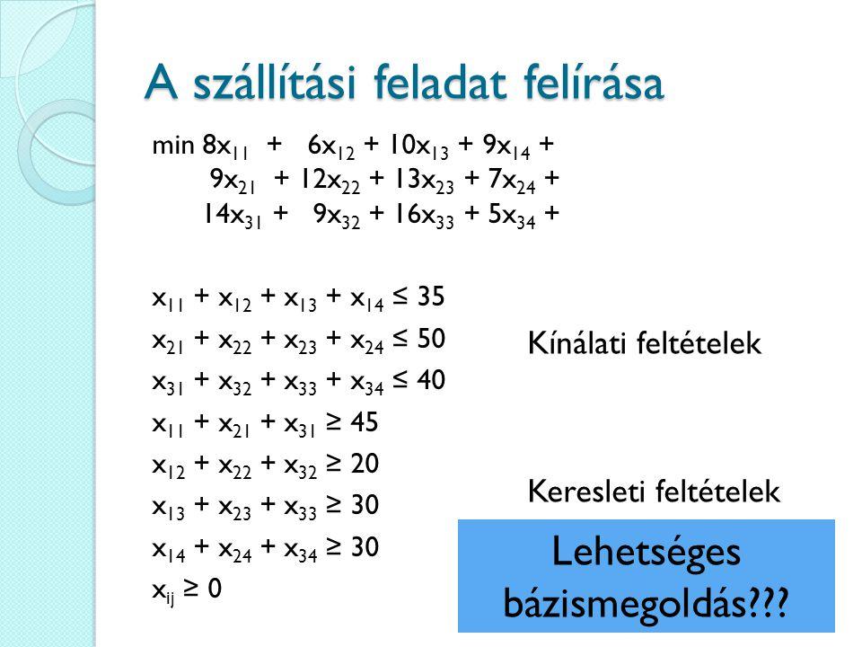 A szállítási feladat felírása min 8x 11 + 6x 12 + 10x 13 + 9x 14 + 9x 21 + 12x 22 + 13x 23 + 7x 24 + 14x 31 + 9x 32 + 16x 33 + 5x 34 + x 11 + x 12 + x
