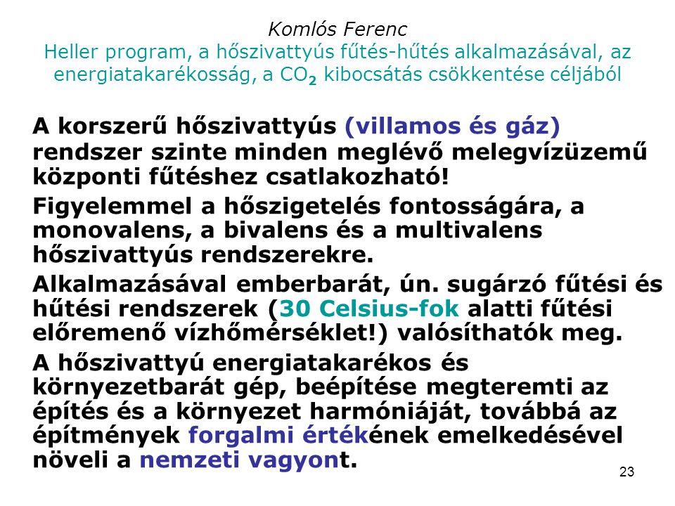 23 Komlós Ferenc Heller program, a hőszivattyús fűtés-hűtés alkalmazásával, az energiatakarékosság, a CO 2 kibocsátás csökkentése céljából A korszerű hőszivattyús (villamos és gáz) rendszer szinte minden meglévő melegvízüzemű központi fűtéshez csatlakozható.