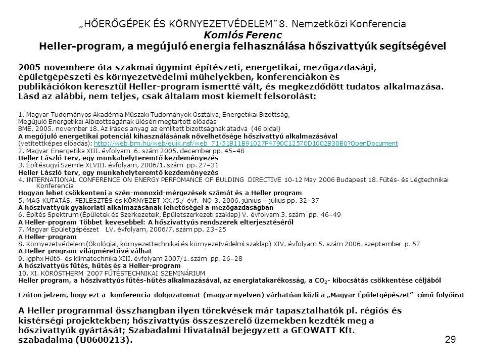 """29 """"HŐERŐGÉPEK ÉS KÖRNYEZETVÉDELEM 8."""