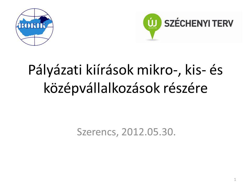 Pályázati kiírások mikro-, kis- és középvállalkozások részére Szerencs, 2012.05.30. 1