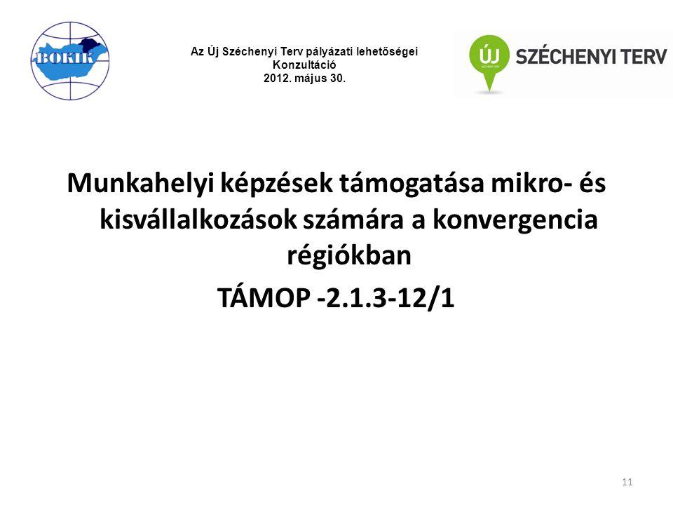 Munkahelyi képzések támogatása mikro- és kisvállalkozások számára a konvergencia régiókban TÁMOP -2.1.3-12/1 11 Az Új Széchenyi Terv pályázati lehetős